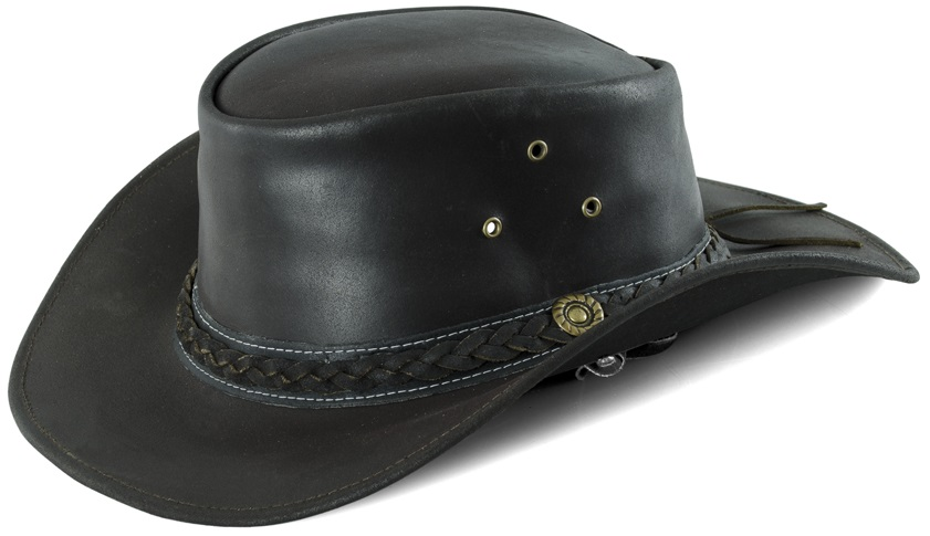 Western Leather Hat  Brun Small