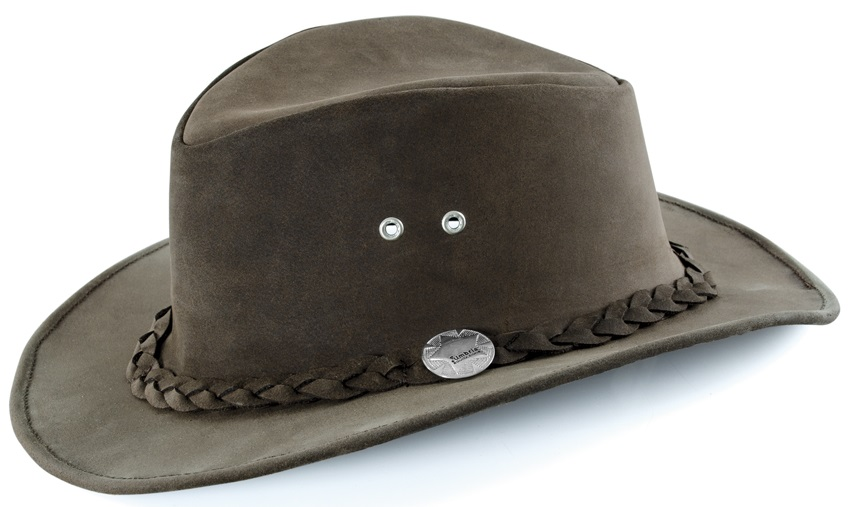 Australian Leather Hat  Mörkbrun Small