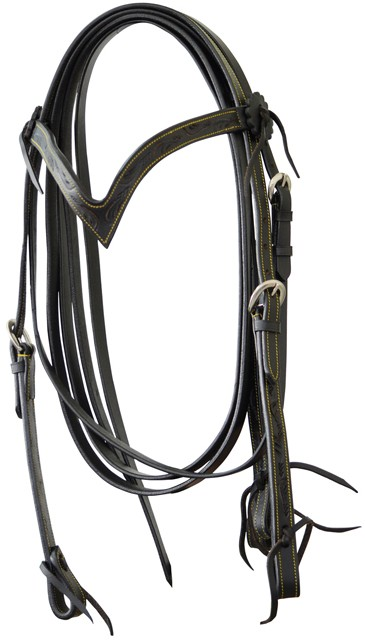 Western Headstall Set Flowers Lakota Brun