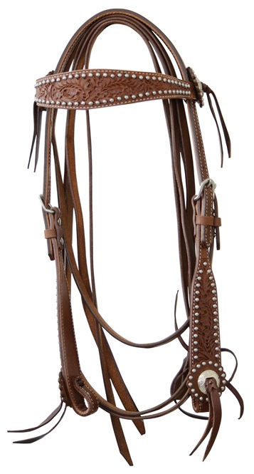 Western Headstall Pools Flowers Bullet  Naturläder