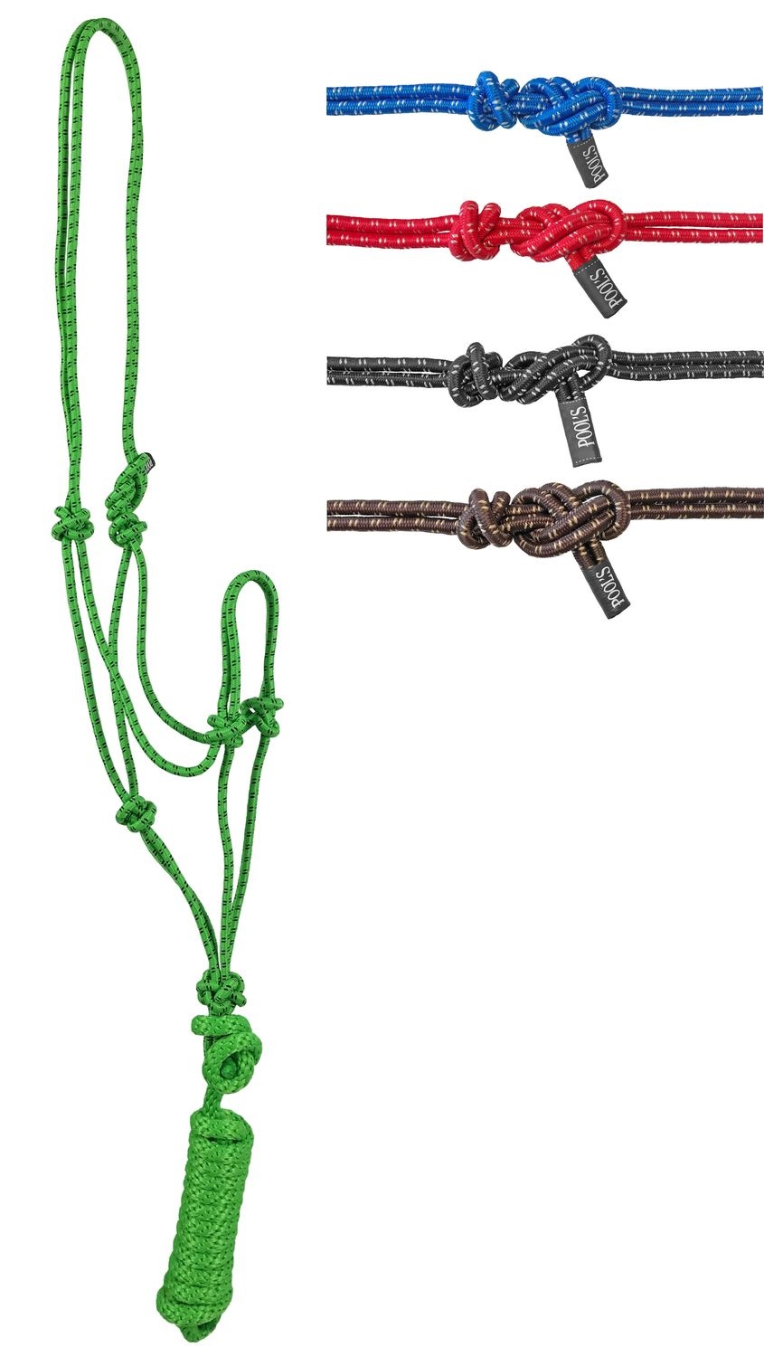 Twin Knotted Nylon Halter With Lead