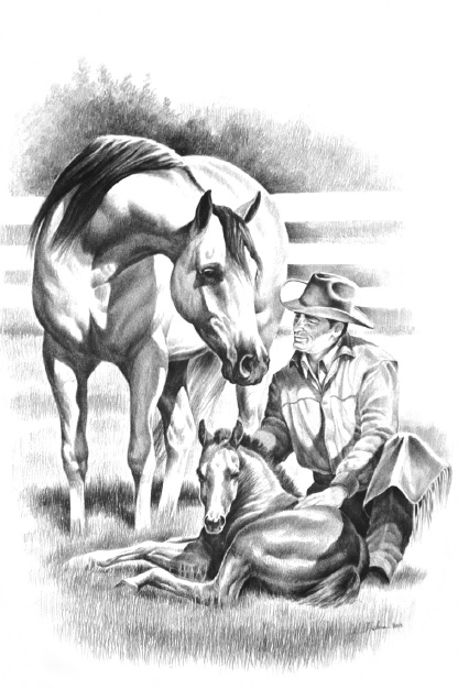 Western Print Cowboy Horse and Foal