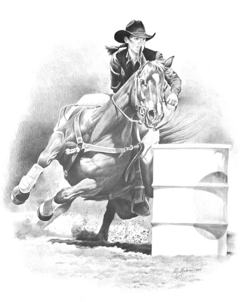 Western Print Barrel Racing
