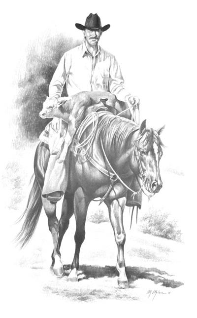 Western Print Cowboy and Calf