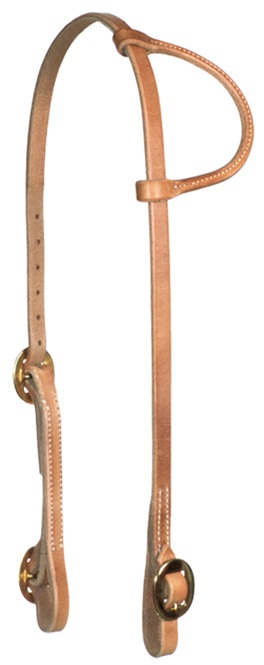 Western Headstall Round Ear Herman Oak